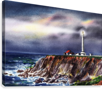 Lighthouse Point Arena At Night  Canvas Print