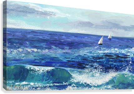Two Boats In The Ocean Seascape Painting  Canvas Print