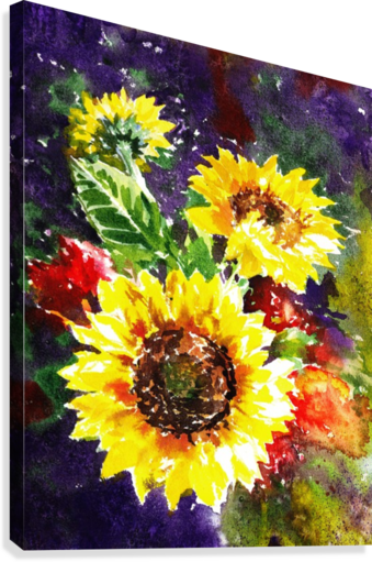 Impressionism And Sunflowers  Canvas Print
