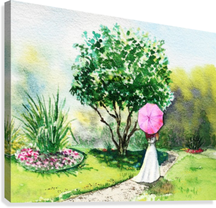 Girl With Pink Umbrella  Canvas Print