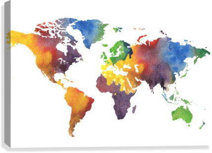 Colorful map of the world watercolor irina sztukowski canvas colorful map of the world watercolor canvas print gumiabroncs Gallery