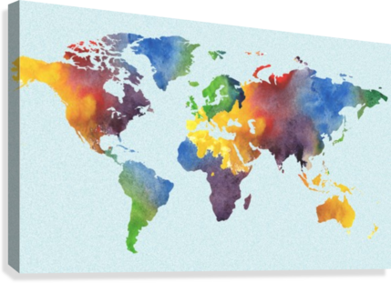 Bright watercolor map of the world irina sztukowski canvas bright watercolor map of the world canvas print gumiabroncs Image collections