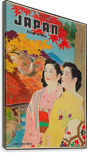 Japan Autumn in Nikko travel poster  Canvas Print