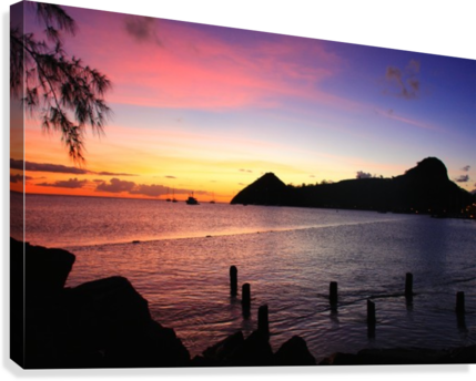 Sunset looking at Pigeon Island  Canvas Print