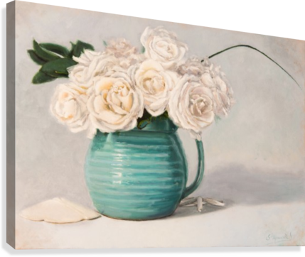 White roses in green pitcher 28 x 40 oil painting landscape 1  Canvas Print