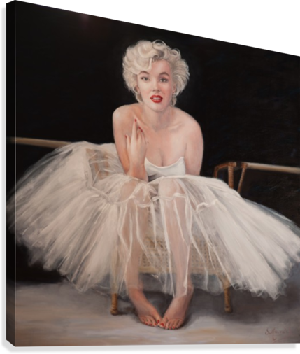 Marilyn in white ballet dress 1  Canvas Print