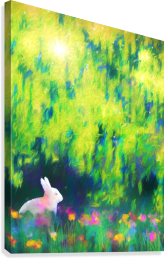 Bunny beneath the Willow Tree  Canvas Print