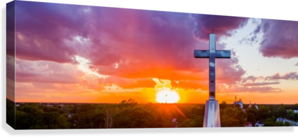 RUSHVILLE, IL PRESBYTERIAN CHURCH CROSS AT SUNSET II JORDAN WILLIAMS OF AIR IMAGERY SERVICES  Canvas Print