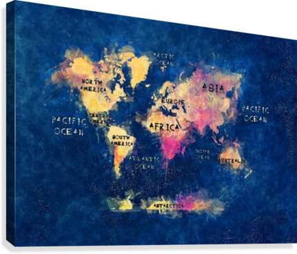 World Map Oceans And Continents Blue Yellow Justyna Jaszke Canvas