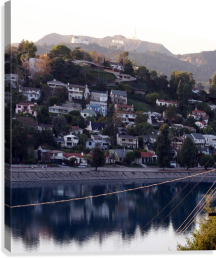 Silver Lake Reservoir with Griffith Observatory  Canvas Print