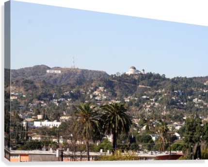 Hollywood Hills from Silver Lake  Canvas Print
