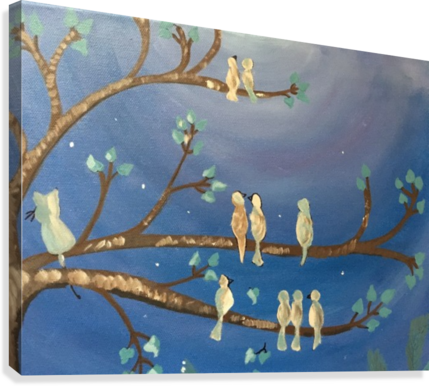 Birds on a limb  Canvas Print