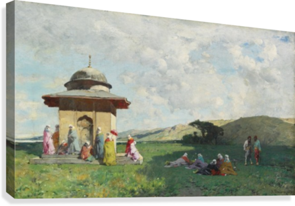 Landscape with people and small mosque  Canvas Print