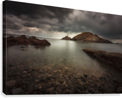 Rough weather over Mumbles lighthouse  Canvas Print