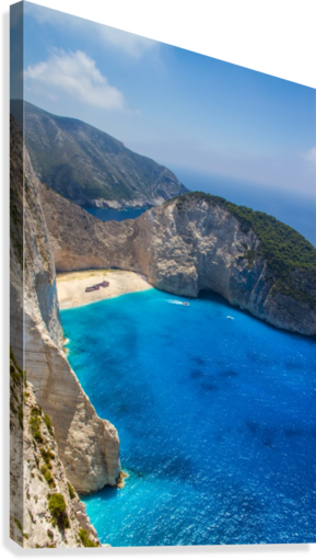 Navagio beach with shipwreck and flowers on Zakynthos island in Greece  Canvas Print