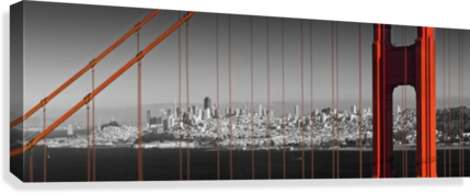 Golden Gate Bridge Panoramic Downtown View  Canvas Print