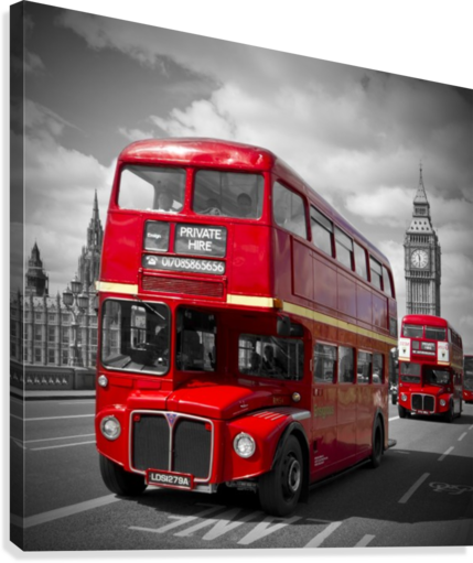LONDON Red Buses on Westminster Bridge  Canvas Print