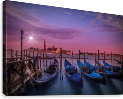 VENICE Gondolas at Sunset  Canvas Print