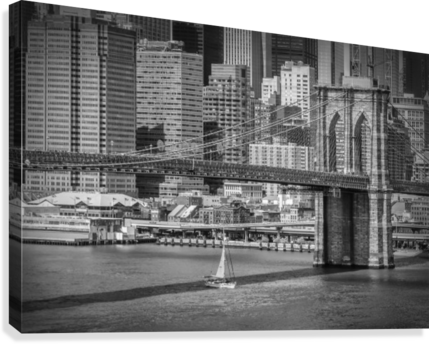 NEW YORK CITY Brooklyn Bridge & Manhattan Skyline  Canvas Print