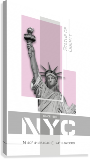 Poster Art NYC Statue of Liberty | light pink  Canvas Print