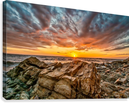 Rocks and Sunset  Canvas Print