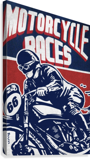 Motorcycle Racing Vintage Poster  Canvas Print