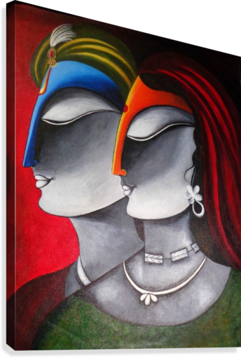 Divine Love Krishna and Radha  Canvas Print