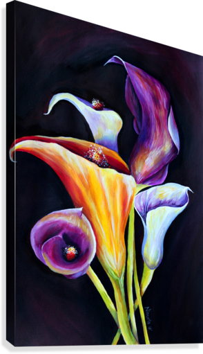 Calla Lilies in Blooming Bouquet  Canvas Print