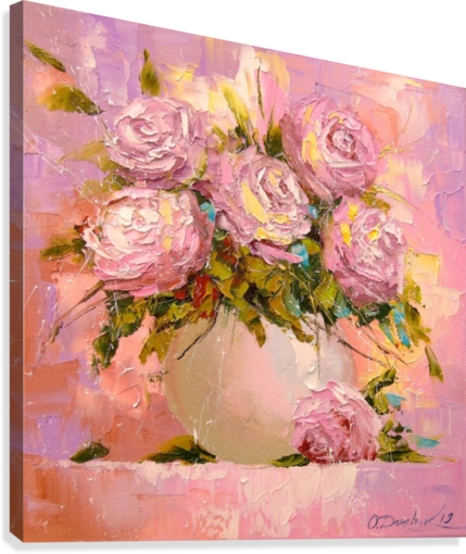 A bouquet of delicate roses  Canvas Print