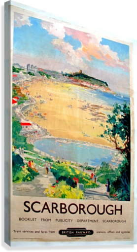 Original Railway Poster Scarborough  Canvas Print
