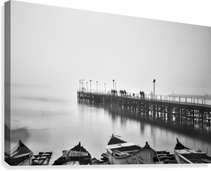 Foggy sea bridge  Canvas Print