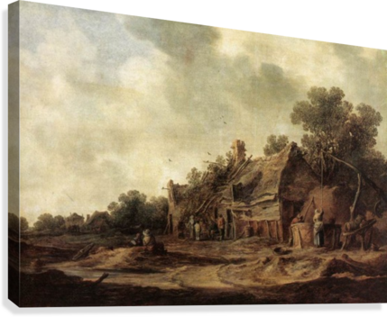 Peasant Huts with Sweep Well1633  Canvas Print