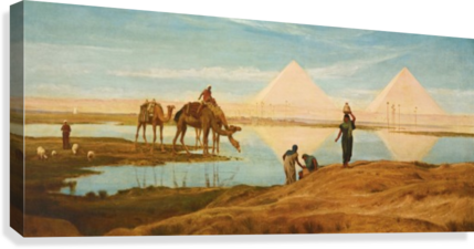 People and camels by the pyramids  Canvas Print