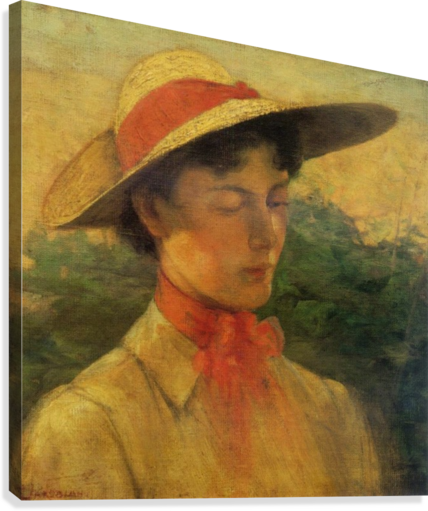 Portrait of a lady with hat - Georgios Jakobides Canvas e8cac9acf44
