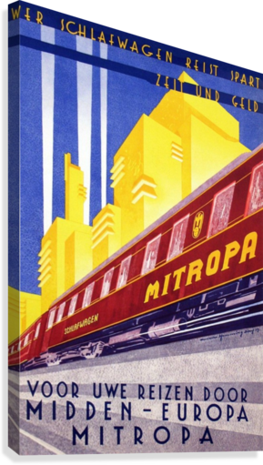 POSTER MITROPA MIDDEN - EUROPA, 1929 VINTAGE POSTER  Canvas Print