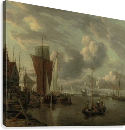 Quayside with extensive shipping  Canvas Print