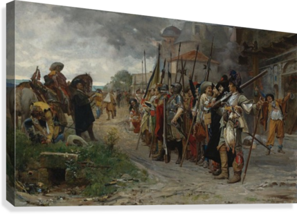 Roll call after the pillage 1866  Canvas Print
