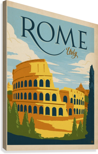 Rome italy vintage poster canvas