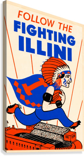 1930 VINTAGE UNIVERSITY OF ILLINOIS FIGHTING ILLINI POSTER ROW ONE BRAND  Canvas Print