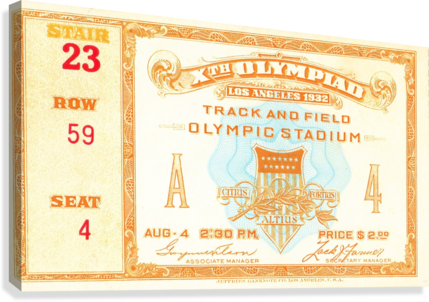 1932 Olympic Track and Field Ticket Stub Art  Canvas Print