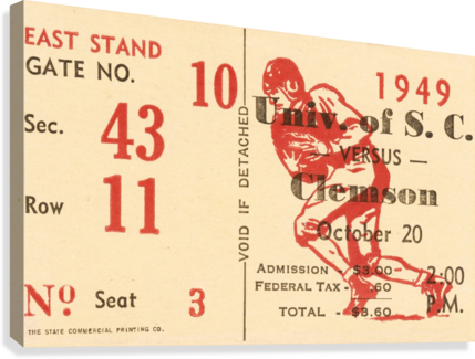 1949 SOUTH CAROLINA GAMECOCKS PALMETTO BOWL TICKET STUB WALL ART METAL SIGN WOOD PRINTS ROW ONE BRAND  Canvas Print