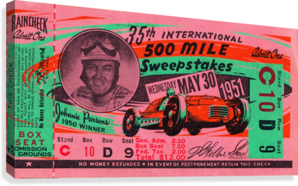 1951 indianapolis 500 mile sweepstakes auto race  Canvas Print