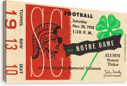 1953 usc notre dame football ticket stub print poster vintage metal sports tickets row 1  Canvas Print