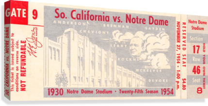 1954 usc notre dame irish college football  Canvas Print