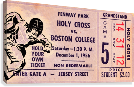 1956 Holy Cross Boston College Ticket Stub Canvas Fenway Park Row One Brand