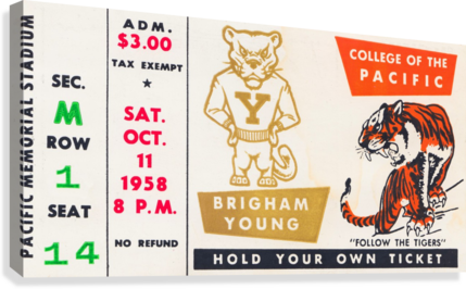 1958 college of the pacific brigham young football ticket art  Canvas Print