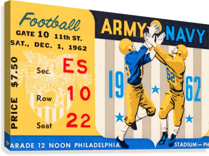 1962_Vintage College Football_Army vs. Navy_Municipal Stadium_  Canvas Print