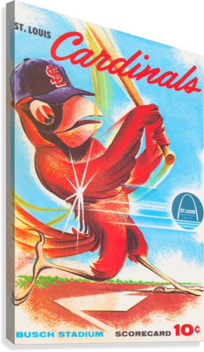 1964 ST LOUIS CARDINALS SCORE CARD ART CANVAS ROW ONE BRAND  Canvas Print