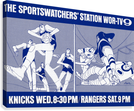 1967 New York Knicks and Rangers WOR TV9 Ad  Canvas Print