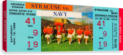 1968 syracuse navy college football ticket stub art poster vintage canvas metal tickets row 1  Canvas Print